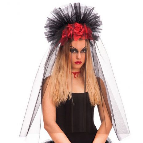 Headband Black Veil with Rose Crown Queen King Prince Princess